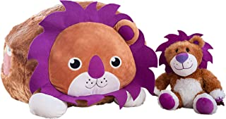 hugable Lion Bean Bag Stuffed Animal Storage Extra Large Chair - XL Soft Animal Organizer | Holds up to 50 Animals | Unique Birthday Gifts for Toddlers | Learning Toys