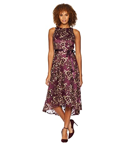 Tahari by ASL Embroidered Mesh Midi Dress (Aubergine/Gold) Women