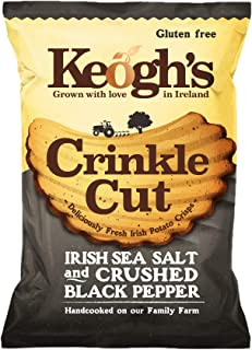 Pack of 24 50g (1.76oz) Keogh's Crinkle Cut Atlantic Sea Salt and Crushed Black Pepper Potato Chips Crisps Gluten Free (Ir...