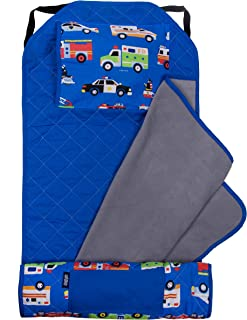 Wildkin All-in-One Modern Nap Mat with Pillow for Toddler Boys and Girls, Perfect Size for Daycare and Preschool, Designed with Elastic Corner Straps to Fit a Standard Cot