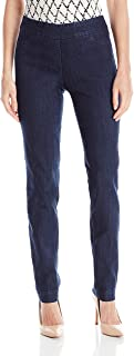 SLIM-SATION Women's Wide Band Pull-On Straight Leg Pant With Tummy Control