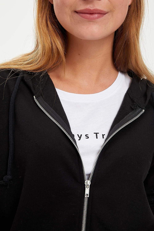 DeFacto Women's Hooded Zipper Cardigan Black