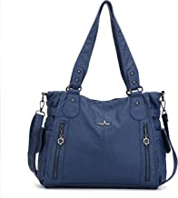 Angelkiss 2 Top Zippers Multi Pockets Women Handbags/Washed Leather Purses/Shoulder Bags 1193 (Blue) By Angel Kiss