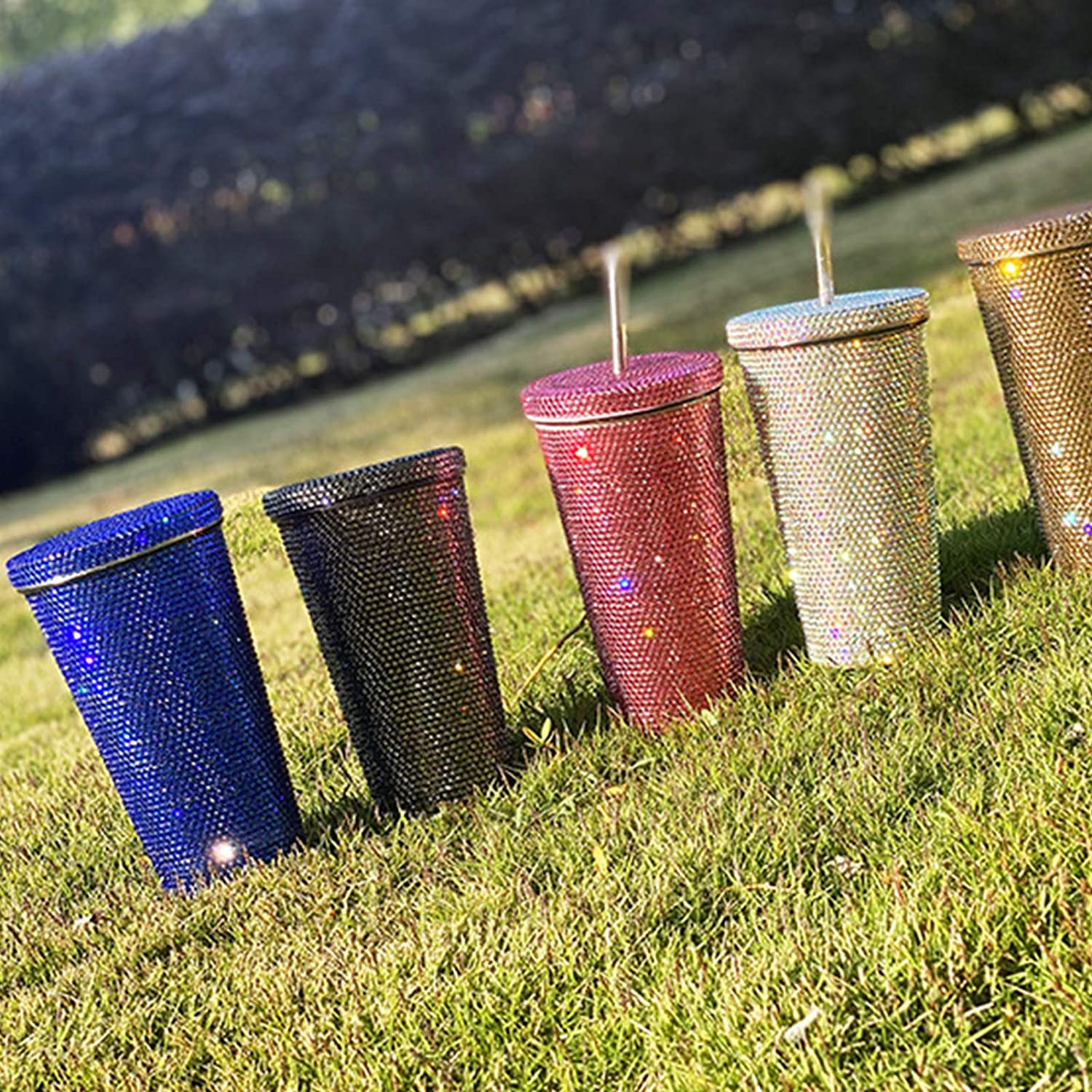 500ml 17oz Glitter Tumbler with Lid Steel いよいよ人気ブランド Straw ギフ_包装 Stainless and T