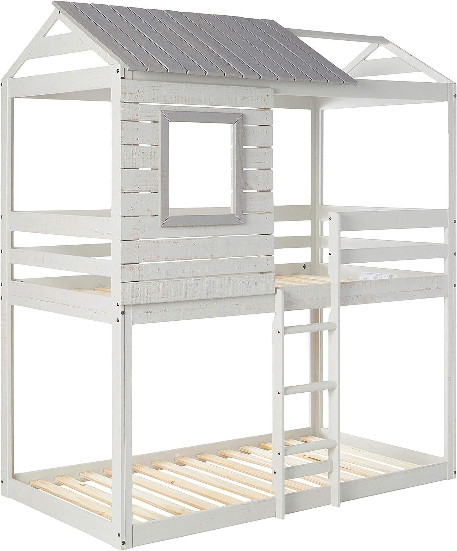 DONCO kids Large discharge Online limited product sale Deer Blind Bunk Loft Grey Bed Light Twin