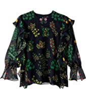 Oscar de la Renta Childrenswear - Botanical Branch Printed Long Sleeve Blouse w/ Ruffles (Toddler/Little Kids/Big Kids)
