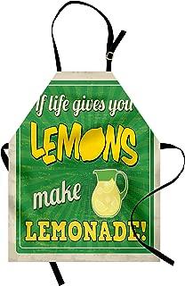 Ambesonne Saying Apron, Vintage Pop Art Advertising Design If Life Gives You Lemon Make Lemonade, Unisex Kitchen Bib with Adjustable Neck for Cooking Gardening, Adult Size, Yellow Green