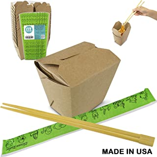 [50 Boxes and 50 Chopsticks Pack] 16 oz Brown Kraft Chinese Take Out Box with 9 Inch Bamboo Chopstick Disposable - Microwavable Food Paper Container for Asian Party Favor, To Go Mini Candy or Rice Box