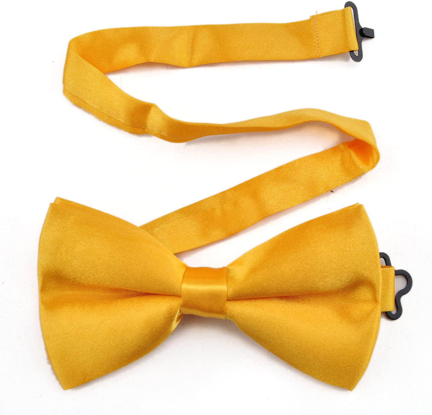 TopTie Mens Formal Solid Gold Satin Bow Tie