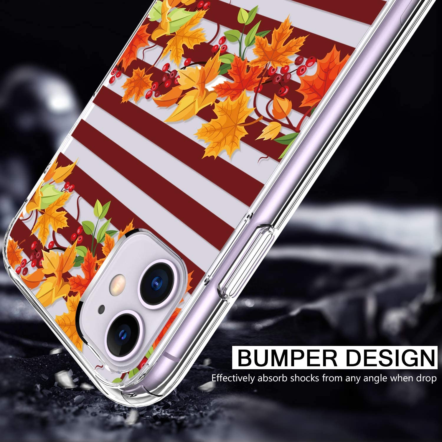 BICOL iPhone 11 Case, Mapel Leaves Floral Flower Pattern Clear Design Transparent Plastic Hard Back Case with Soft TPU Bumper Protective Cover Phone Case for Apple iPhone 11 6.1