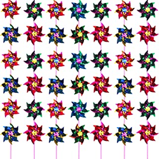 Hestya Plastic Rainbow Pinwheel, Party Pinwheels DIY Lawn Windmill Set for Teenagers Toy Garden Party Lawn Decor (50 Pieces, Multicolor A)