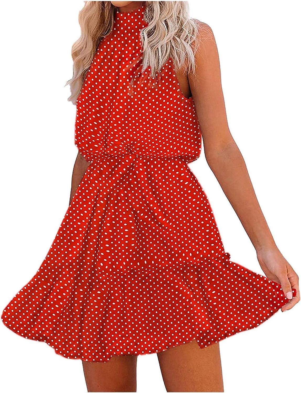 Toeava Women Dresses, Womens Fashion Halter Strapless Ruffle Bandage Casual Dress Beach T-Shirt Mini Tunic Tank Dress