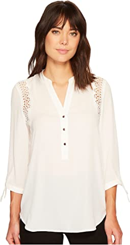 Ivanka Trump - Georgette Blouse with Shoulder Lace Detail and Tie Sleeve