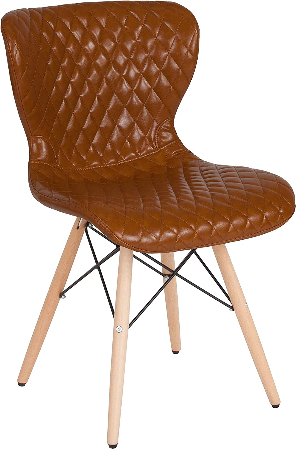 Flash Furniture Riverside Contemporary Upholstered Chair with Wooden Legs in Saddle Vinyl