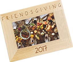 Friendsgiving Personalized Wood Photo Frame - Custom Engraved Happy Thanksgiving Picture Frame - WF48