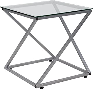 Flash Furniture Park Avenue Collection Glass End Table with Contemporary Steel Design