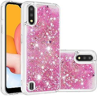 جراب Mylne السائل لهاتف Samsung Galaxy A10، جراب لامع مضاد للصدمات عليه رمل متحرك لامع لامع ممتص للصدمات باللون الوردي