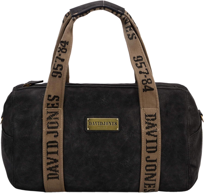 David Jones - Bolso de Viaje Unisexo - Equipaje de Mano Gran Capacidad Cuero PU Weekender - Travel Duffel Bag Holdall Plegable - Bolso Hombro Bandolera Gimnasio Deporte Trabajo Hombre Mujer - Negro