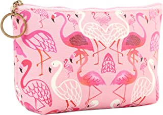 HOYOFO Travel Cosmetic Bag Portable Makeup Pouch Zipper Waterproof Organizer Bags for Women Girls,Pink Flamingos