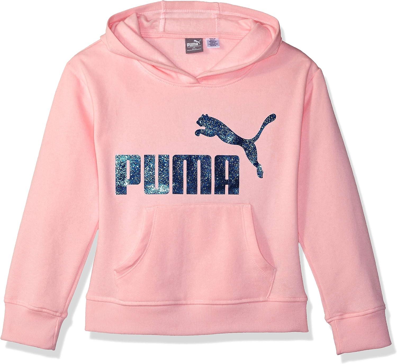 PUMA Girls' Fleece No. 1 Logo Pullover Hoodie: Clothing