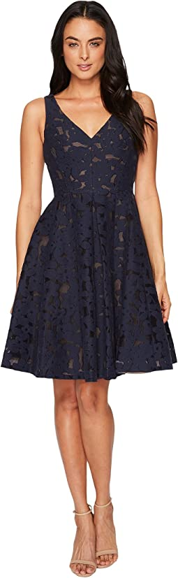 Maggy London - Sheer Blossom Burnout Fit and Flare Dress