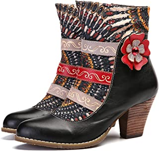 gracosy Leather Ankle Booties Casual Zipper Block Heel Boots Splicing Pattern Point Toe Boots for Women