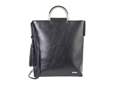 San Diego Hat Company Pebbled PU Leather Tote w/ Magnetic Closure, Leather Gold Round Handles Adjustable Strap (Black) Handbags