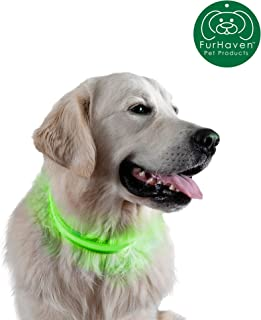 Furhaven Pet Dog Leash | 1,000-ft High Visibility Bright LED Light-Up Safety Pet Collar & Leash Walking Extension Attachment for Dogs & Cats - Available in Multiple Colors & Sizes