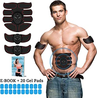 Eon Concepts Muscle Toner Trainer Ultimate Abs Stimulator With 20 EXTRA Gel Pads & E-Book   EMS Abdominal Toning Belt For Men & Women   Arm & Leg Trainer   Portable Office Home & Gym Fitness Equipment