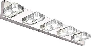 LED Vanity Light, SOLFART Dimmable 5 Lights 31.5 Inches Modern Glass Stainless Steel Vanity Light Over Mirror Bathroom Lighting Fixtures