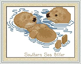 CaptainCrafts New Stamped Cross Stitch Kits Preprinted Pattern Counted Embroidery Starter Kits for Beginner Kids and Adults - Sea Otters - DIY Artwork Needlecrafts (STAMPED)