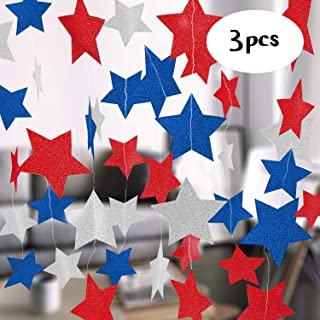 Big offers Fourth of July Decorations | Star Garland, Party Supplies Red, Silver, Blue, 4th of July Decor for Home & Office | Patriotic Streamers for Memorial Day, Independence, Veterans, Baby Shower