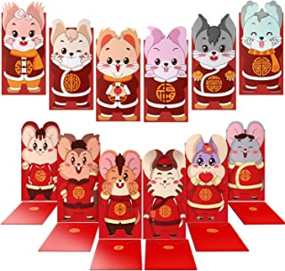 24 Pieces 2020 Chinese Red Envelopes Mouse Year Hong Bao Money Packet Rat Gift Envelopes for Chinese New Year Birthday Wedding Supplies, 12 Styles