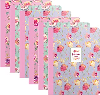 Pukka Pad 6-Pack Composition Notebook 70 Premium 80 GSM Ruled Sheets Blossom: Pink Green Purple