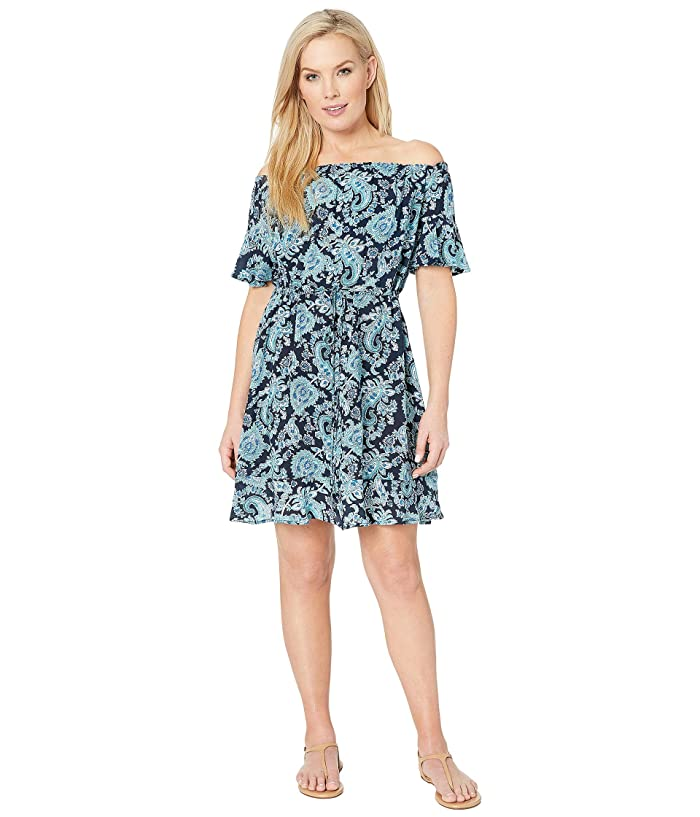 MICHAEL Michael Kors Sweetheart Paisley Cold Shoulder Ruffle Cover-Up (Aqua) Women