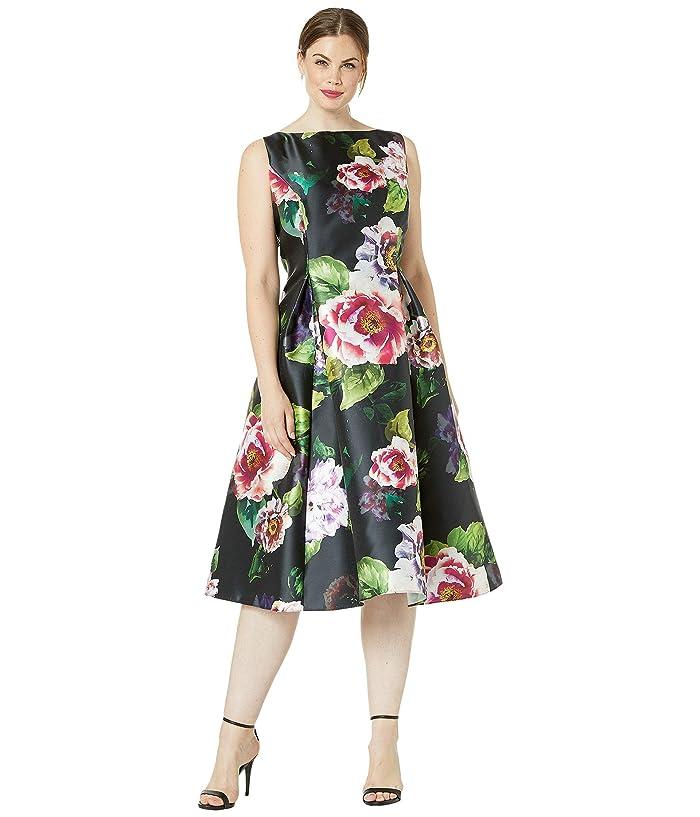 Adrianna Papell Plus Size Tea Length Printed Floral Mikado ...