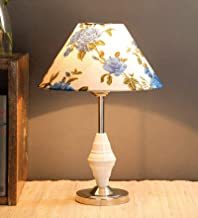 Improvhome Beautiful Flower Conical Shade and Beautiful Stainless Steel Base for Bedroom and Drawing Room, Table Lamp (Size: 35 x 26 x 16 cm)