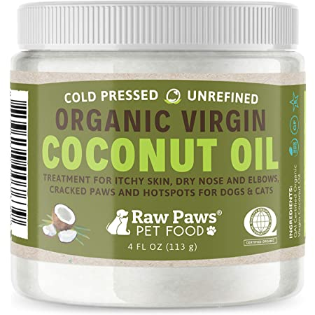 Raw Paws Organic Coconut Oil for Dogs & Cats, 4-oz - Treatment for Itchy Skin, Dry Nose, Paws, Elbows, Hot Spot Lotion for Dogs, Natural Hairball Remedy for Dogs & Cats