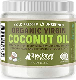 Raw Paws Organic Coconut Oil for Dogs & Cats, 4-oz - Treatment for Itchy Skin, Dry Nose, Paws, Elbows, Hot Spot Lotion for...