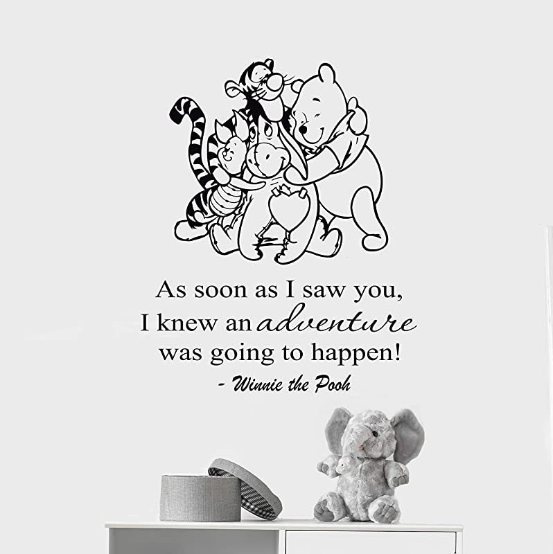 ManukaDesigns Winnie The Pooh Friends Wall Decal A Grand Adventure Is About To Begin Quote Baby Room Decor Nursery Wall Decoration CG1574 18 Width By 22 Height