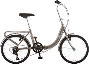 Schwinn Loop Folding Bicycle, Featuring Front and Rear Fenders, Rear Carry Rack, and Kickstand with 7-Speed Drivetrain, Silver