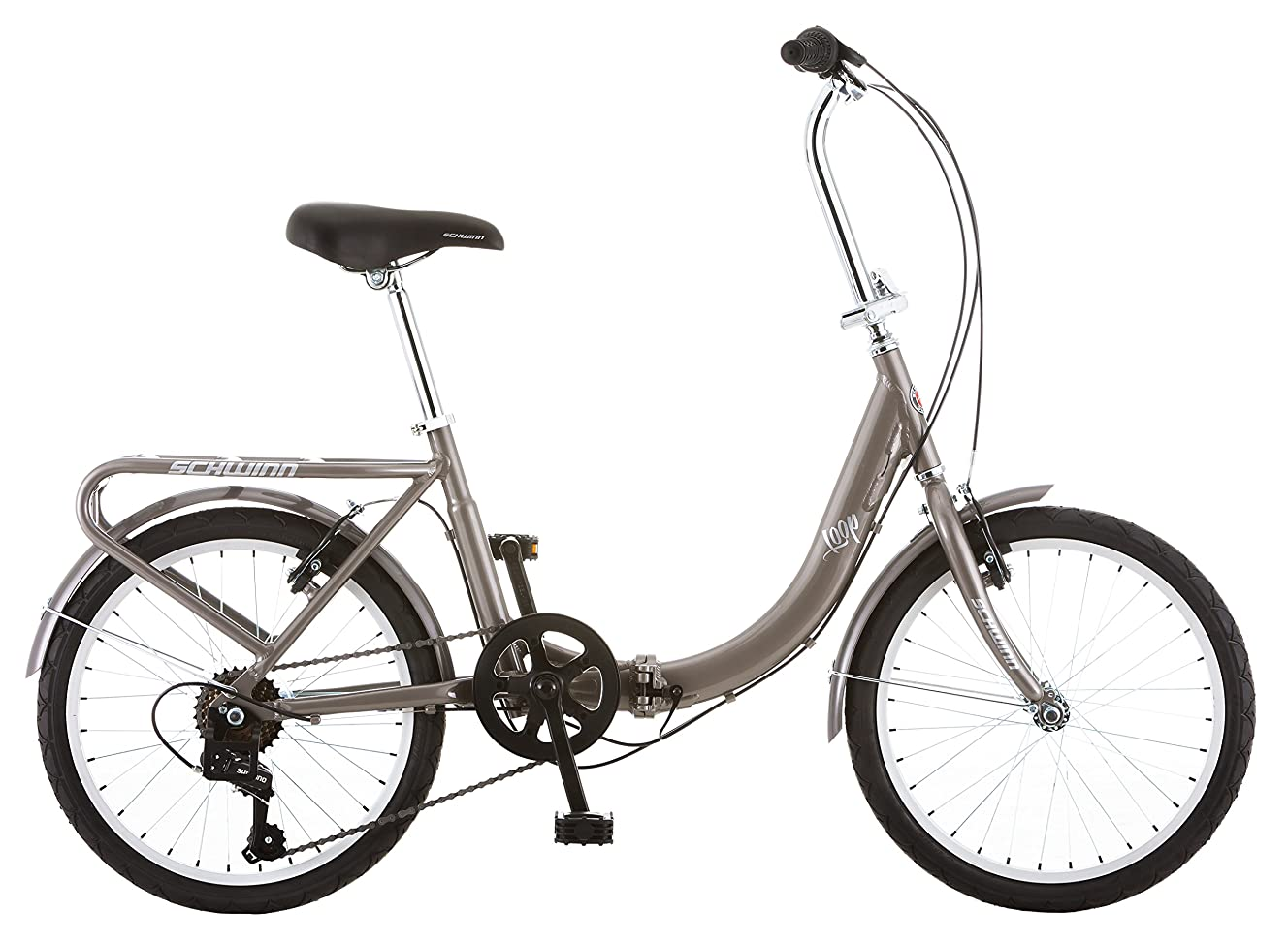 Schwinn Loop Folding Bicycle, Featuring Front and Rear Fenders, Rear Carry Rack, and Kickstand with 7-Speed Drivetrain, Includes Nylon Carrying Bag, 20-Inch Wheels, Silver