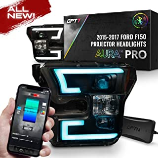 OPT7 LED Tube Headlights Projector Black Aura RGB-W DRL for 15-17 F150 -Bluetooth Built in Full Color