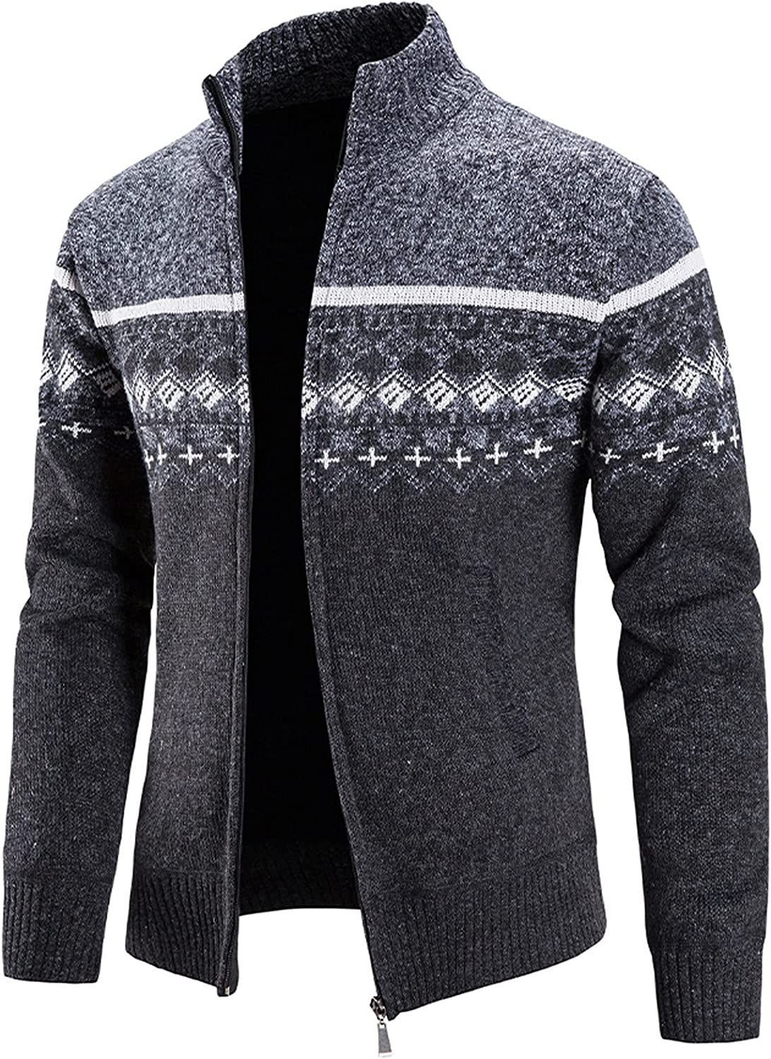 XXBR Sweater Cardigan Jackets for Mens, Fall Winter Zipper Plaid Stand Collar Coat Patchwork Warm Slim Casual Outerwear
