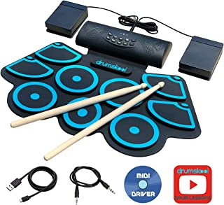 Drumskool Electric Drum Set, MIDI Electronic Drum Pad Set, Connect your phone to play along with included Drum Lessons, Speakers, Drum Pedals, Drum Sticks, 10 hours play time, Quickstart Guide