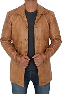 Mens Winter Leather Coats and Jackets - 100% Real Distressed Brown Lambskin - Brown - XS
