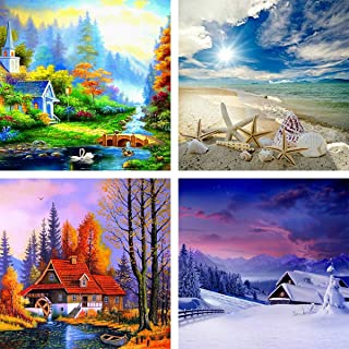 4 Pack 5D DIY Diamond Painting Four Season Scenery Kit Full Drill by Number Kits for Adults, Ginfonr Spring Summer Autumn ...
