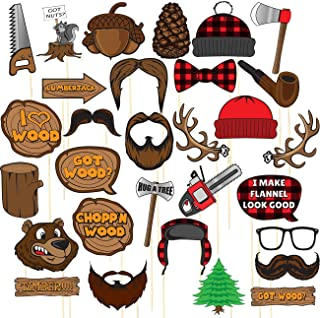 Lumberjack Photo-Booth Props – 30-Pack Buffalo Plaid Party Supplies, Flannel Party Photo Props, Selfie Props, Birthday Decoration Accessories on Bamboo Sticks, Assorted Designs