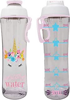 50 Strong BPA-free Water Bottle for Kids with Time Markers, Chug Cap and Carry Loop, 24 Ounces