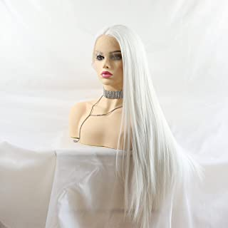 Lucyhairwig Silky Straight White Color Synthetic Lace Front Wigs For Women Realistic Looking Synthetic Hair Long Wig Half Hand Tied Heat Resistant Fiber Hair Cosplay Wigs 24 inches